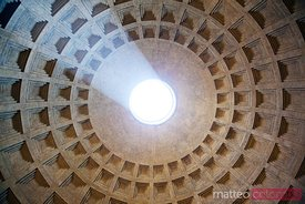 Ceiling of the Pantheon with sunlight coming in, Rome, Italy