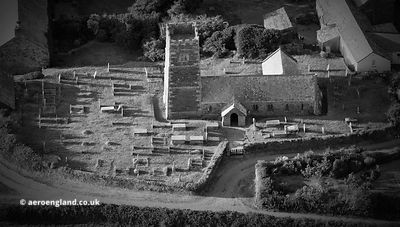 St Petroc's Church Trevalga Cornwall from the air