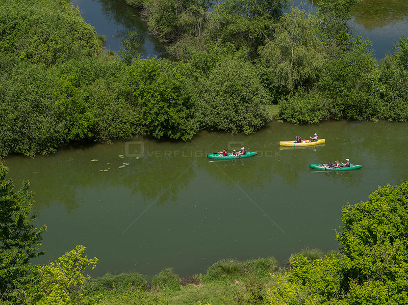 Families canoeing on the River Somme near Peronne, France, May 2015.
