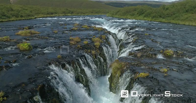 Bruarfoss Waterfall  Iceland Drone Aerial Revealing Shot Sunny Day Low