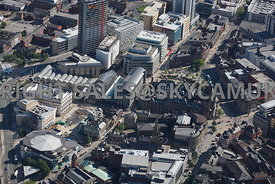 Sheffield aerial photograph looking across Tudor Square and the Winter Gardens and the Town Hall towards St Pauls Place in the city centre