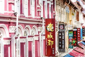 Ornate facade, Chinatown district, Singapore