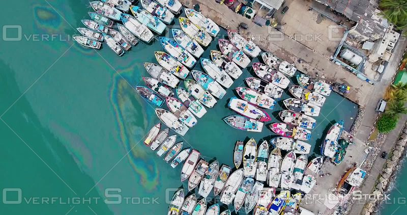 Aerial View of Mirissa Fisheries Harbor, Port of Mirissa, Filmed by Drone, Sri Lanka