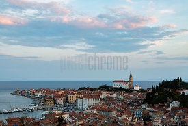Elevated View of the Town of Piran at Dusk