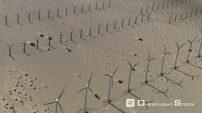 Flying over wind farm in desert