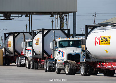 Liquid tank container trucks arriving at Barbours Cut Terminal