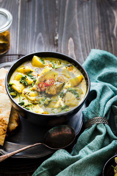 Vegan Potato and Spinach curry