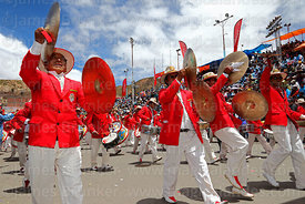Poopo brass band playing during parades, Oruro Carnival, Bolivia