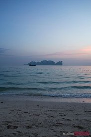 Sunset over tropical beach and island, Thailand