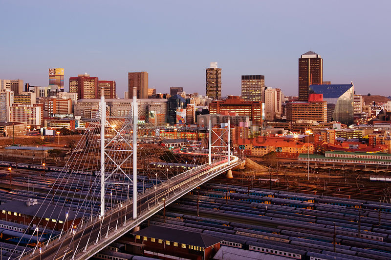 Johannesburg Skyline and Nelson Mandela Bridge