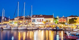 Harbour of Fiskardo in a summer evening. Kefalonia, Greek Islands, Greece