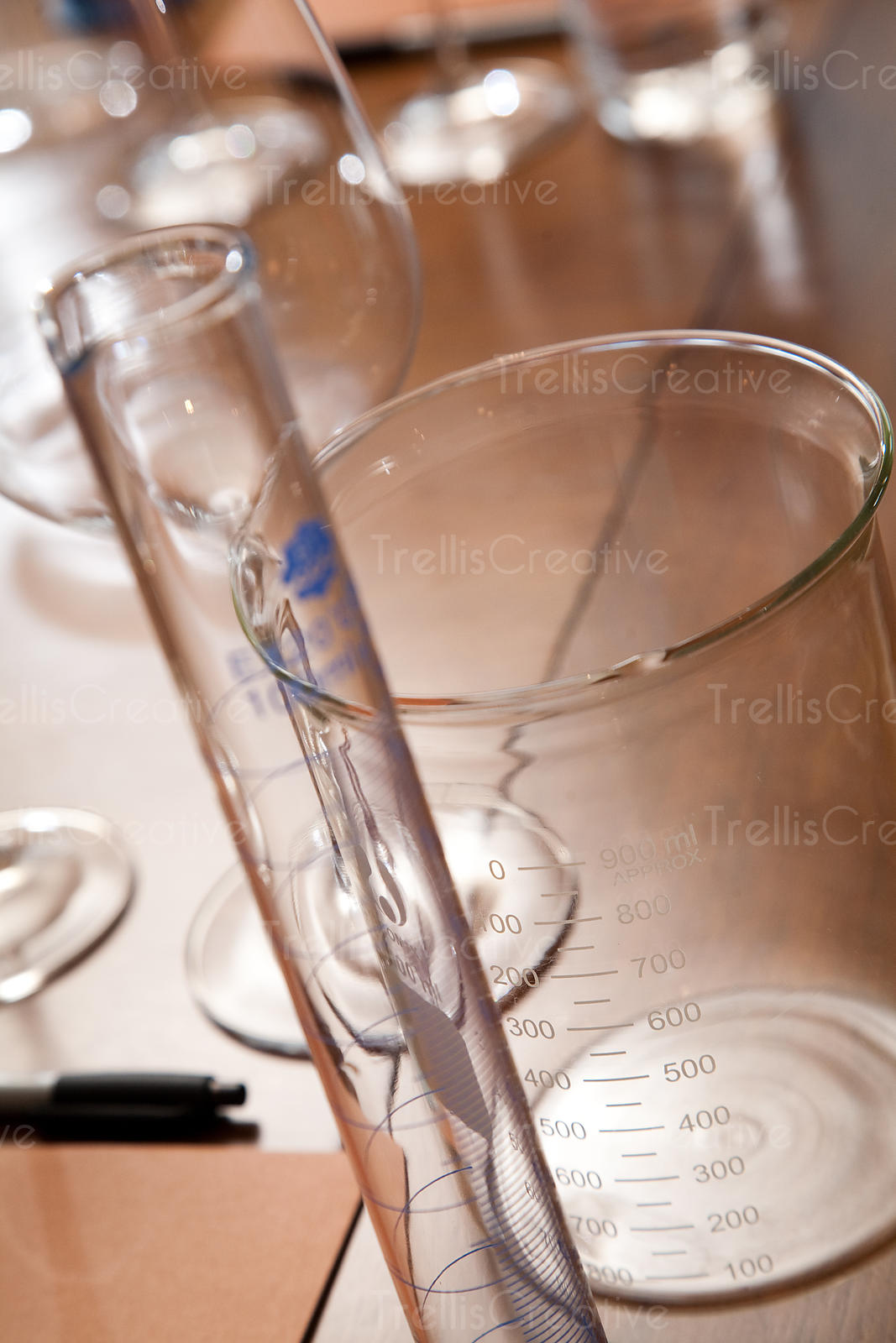 Glass beakers and cylinders for measuring and blending wine