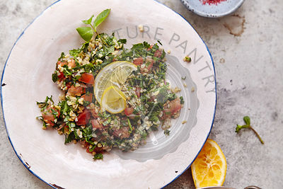 Image of traditional jewish and middle eastern food tabouli