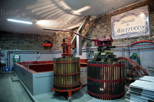Two wine presses at a winery that produces port in the Douro Valley, Portugal