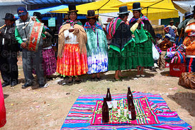Aymara women with communal supply of beer and coca leaves at festival in Caquiaviri, Bolivia