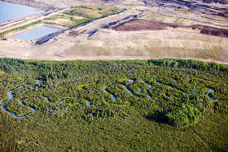 Tar sands deposits mining north of Fort McMurray, Alberta, Canada.  August 2012