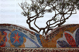 Detail of ceramic mosaic wall and tree branches in Parque del Amor / Park of Love, Miraflores, Lima, Peru