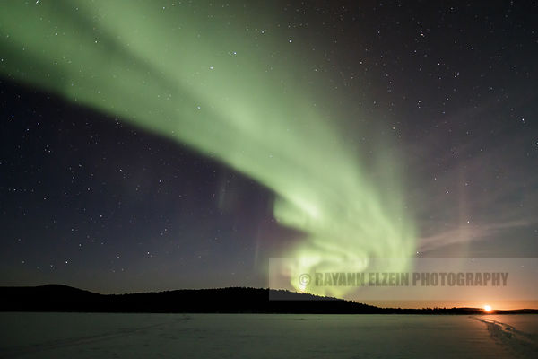 Moonrise and Aurora on Ukonjärvi near Ivalo