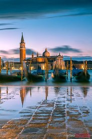 High tide coming at sunrise, Venice, Italy