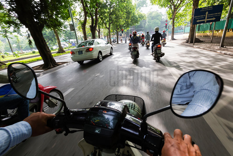 View from a Scooter on a Hanoi Road