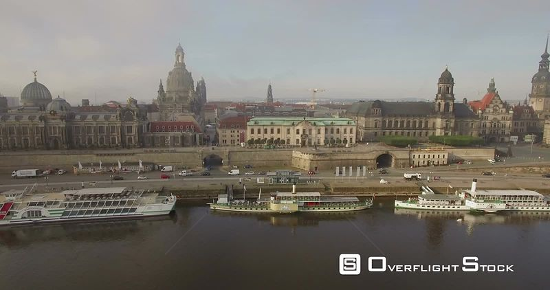 Elbe River and the Historic Frauenkirche in Capital City Dresden Germany