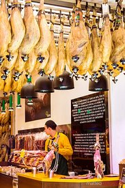 Shop selling the famous Jamon Serrano, Madrid, Spain
