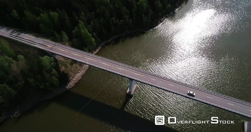 Car, Archipelago Bridge, Aerial Downwad View Following a Vehicle Driving Over a Bridge, Sunny Summer Day, Kemionsaari, Finland