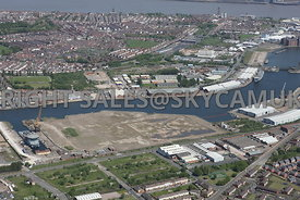 Wirral Waters Enterprise Zone Beaufort Road and Gillbrook basin West Float looking towards Kingsway Tunnel Seacombe