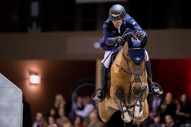 Bordeaux, France, 2.2.2018, Sport, Reitsport, Jumping International de Bordeaux - . Bild zeigt Cameron HANLEY (IRL) riding Aiyetoro (5*)...2/02/18, Bordeaux, France, Sport, Equestrian sport Jumping International de Bordeaux - . Image shows Cameron HANLEY (IRL) riding Aiyetoro (5*).