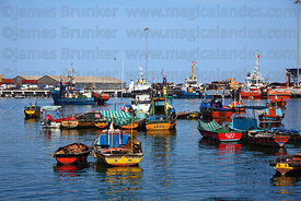 View across fishing port, Arica, Region XV, Chile