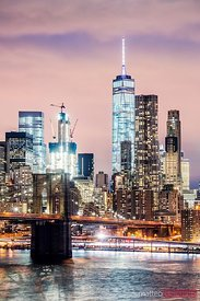Brooklyn bridge and  skyline  at dusk, New York, USA