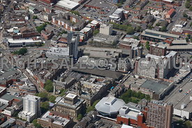 Preston aerial photograph of Market Square and the covered Market and Preston town Hall
