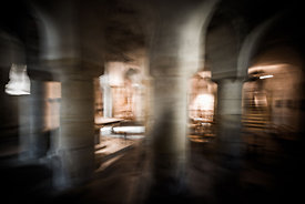 Blurry crypt in the roman church of Issoire