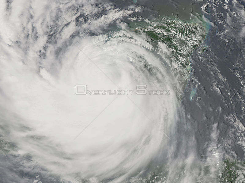 EARTH Atlantic Ocean -- 21 Aug 2007 -- This image shows Hurricane Dean as it re-emerged over the Gulf of Mexico after crossing the Yucatan Peninsula.