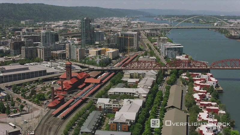 Portland, Oregon Daytime aerial shot of downtown Portland, Oregon and Union Station.  Shot with Cineflex and RED EpicW Helium.