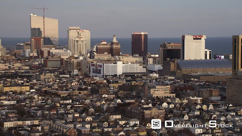 Flying over downtown Atlantic City, New Jersey, looking toward casino resorts. Shot in November