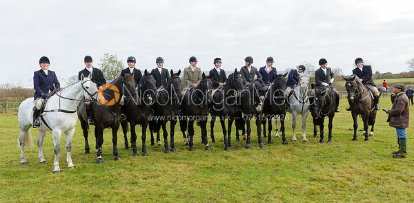 Past and present members of the Winter Trainnig Troop at the meet - The Belvoir Hunt at The Wolds Farm 3/12