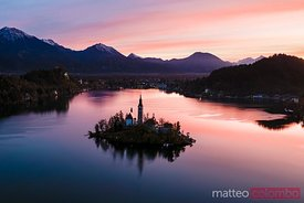 Aerial drone view of lake Bled at sunrise, Slovenia