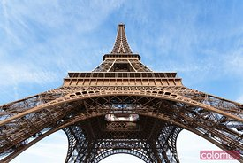 Low angle view of Eiffel tower with blue sky, Paris, France