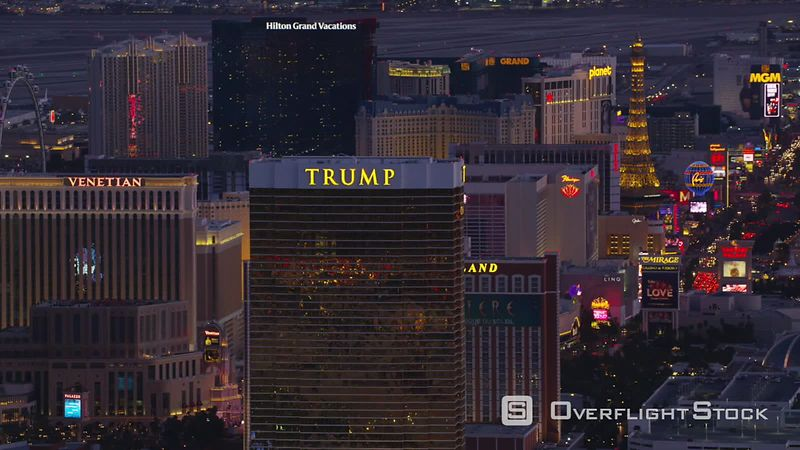 Las Vegas, Nevada Aerial view of Trump hotel and Las Vegas Strip.  Shot with Cineflex and RED EpicW Helium.