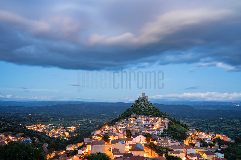 Elevated View of the Small Town of Burgos at Dusk