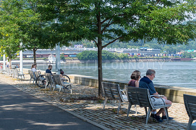 People Enjoying the Day Along the Allegheny River- Pittsburgh, PA