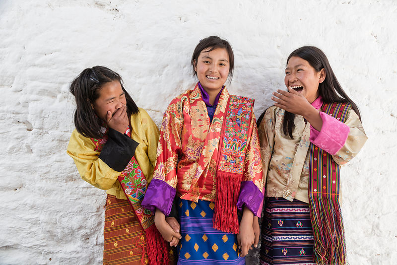 A Portrait of Three Local Girls at Punakha Domche