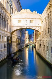 Bridge of sighs at night, with gondola, Venice