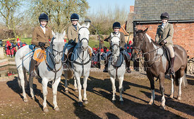Young hunt followers at the meet at Home Farm