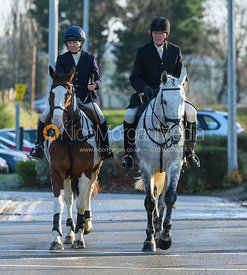 Clare Bell and Nick Townsend arriving at the meet - The Cottesmore Hunt in Melton Mowbray 2/1