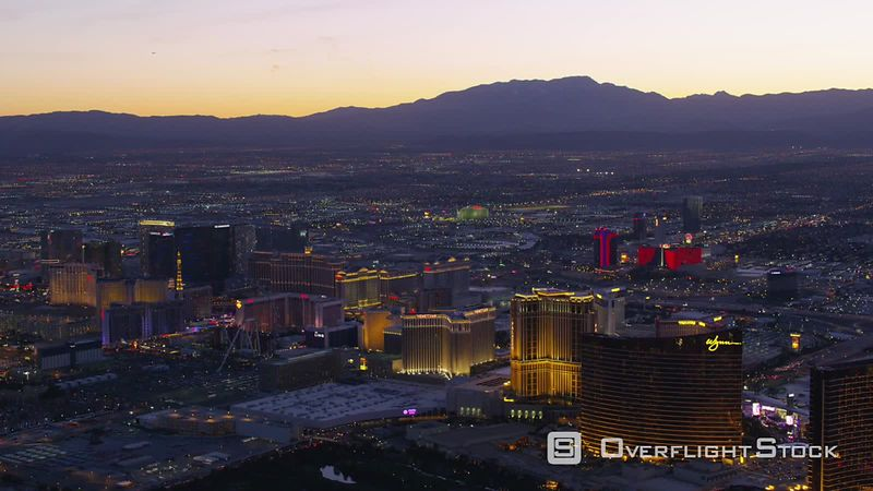 Las Vegas, Nevada Wide aerial view of Las Vegas Strip at dusk.  Shot with Cineflex and RED EpicW Helium.