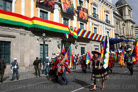 Members of the Viceministry for Decolonization during Independence Day parades, La Paz, Bolivia
