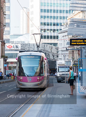 An electric tram in Birmingham City Centre, England