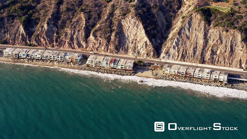 HA Aerial View Of Pacific Coast Highway And Beach Houses In Malibu, RED R3D 4k California